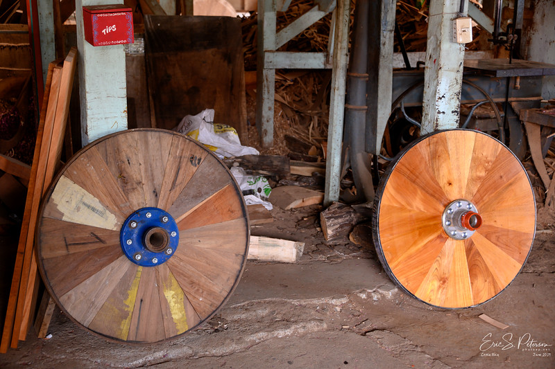 We stopped at the oldest ox cart factory in Costa Rica where they still build ox carts by hand using a water wheel to power the tools.