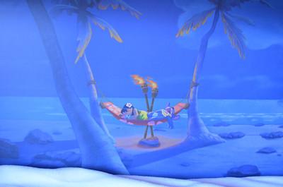 Disney's Bora Bora Bungalow - guest bedroom fold down bed art detail