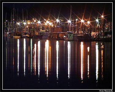 """WRANGELL HARBOR AT NIGHT"",Wrangell, Alaska, USA.-----""WRANGELLSKY PRISTAV V NOCI"", Wrangell, Aljaska, USA."