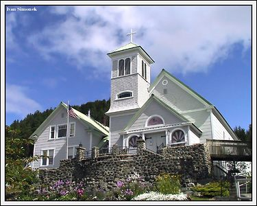 """ST.ROSE OF LIMA"", the oldest catholic church in Alaska.Estabilished in 1879, Wrangell, Alaska, USA.-----""ST.ROSE OF LIMA"", nejstarsi katolicky kostel na Aljasce.Zalozen v r.1879, Wrangell, Aljaska, USA."