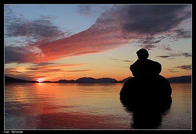 """ZIMOVIA STRAIT SUNSET"" as seen from Wrangell island, Alaska,USA.-----""ZAPAD SLUNCE NAD PRULIVEM ZIMOVIA"", pohled z ostrova Wrangell, Aljaska,USA."