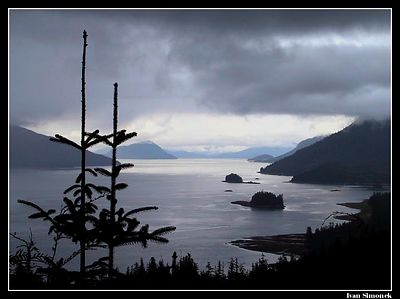"""CLOUDS OVER ZIMOVIA STRAIT "" as seen from Nemo #2 campsite. Wrangell, Alaska,USA.-----""MRAKY NAD PRULIVEM ZIMOVIA"", pohled z taboriste Nemo c.2. Wrangell, Aljaska, USA."