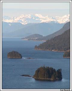 """A VIEW FROM NEMO CAMPSITE"", Zimovia strait, town of Wrangell, Coastal mountains, Alaska, USA.-----""POHLED Z TABORISTE NEMO"",pruliv Zimovia, mesto Wrangell, Coastal(pobrezni) hory, Aljaska, USA."