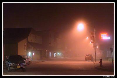 """A FOGGY NIGHT IN WRANGELL, ALASKA, USA."" Downtown Wrangell maintains its old west-gold rush charm.-----""MLHAVA NOC VE WRANGELLU, ALJASKA, USA.""Hlavni ulice Wrangellu zachovava sve western-zlatokopecke kouzlo."