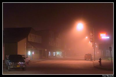 """A FOGGY NIGHT IN WRANGELL, ALASKA, USA."" Downtown Wrangell maintains its old west-gold rush charm.-----""MLHAVA NOC VE WRANGELLU, ALJASKA, USA.""Hlavni ulice Wrangellu zachovava sve western-zlatokopecke kouzlo."