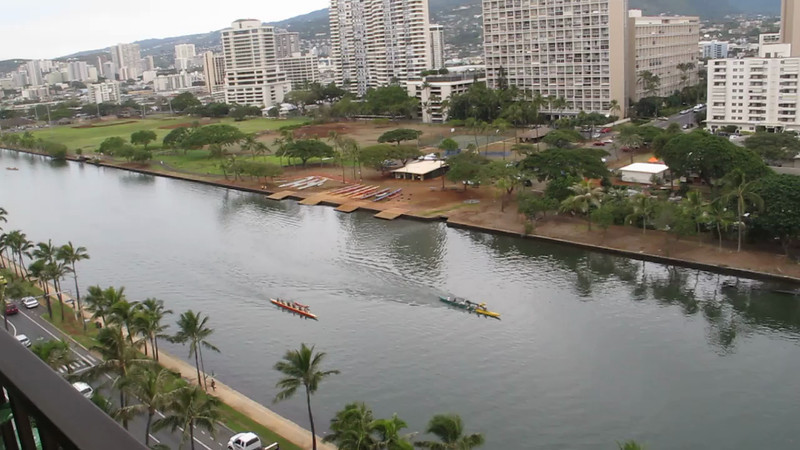Here are the outrigger crews practicing paddling on the canal.