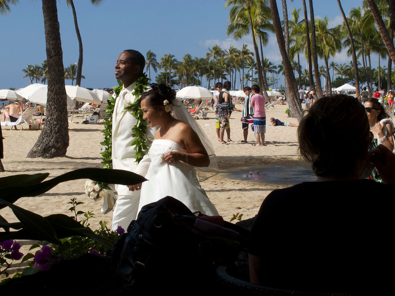 This couple was on their way to pose for their wedding portrait. We saw them from our beachside restaurant.