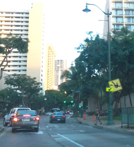 And the sign shows how you walk in Waikiki.