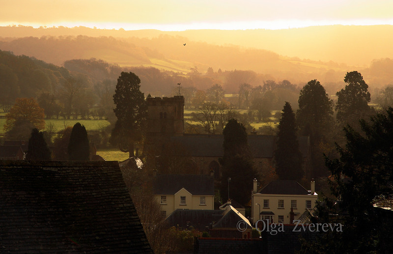 <p>Morning view from Usk castle. Usk, Wales, UK</p> <p>Usk was settled first by Celts and then by Romans, who called it Burrium. A Norman castle was built in the 12th century but was partially destroyed about 1402 during the rebellion of the Welsh prince Owen Glendower. Usk is now a small market town and tourist centre.</p>