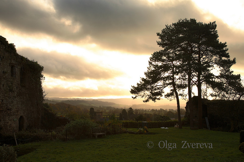 <p>Broken sky. View from Usk castle, Usk, Wales, UK</p>