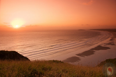 sunset Rhossili bay - Gower - South Wales : UK