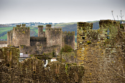 Conwy Castle and Town Wall from the Upper Gate