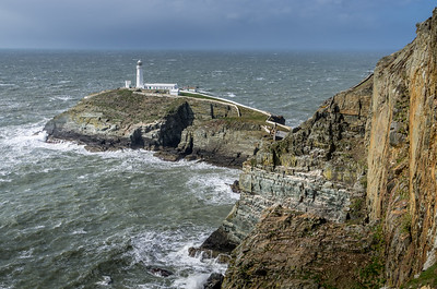 South Stack Lighthouse, north Anglesey.  Winds so high that the Lighthouse was closed.