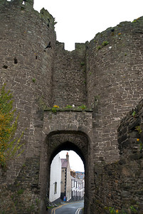 Conwy's medieval town wall and gate