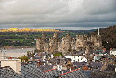Conwy Castle  at sunset from the northwest town wall