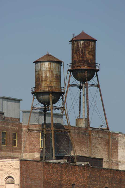 A close-up of old water towers.