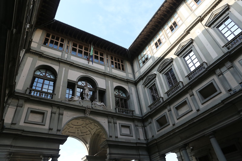 View of the Uffizi Gallery from the courtyard.