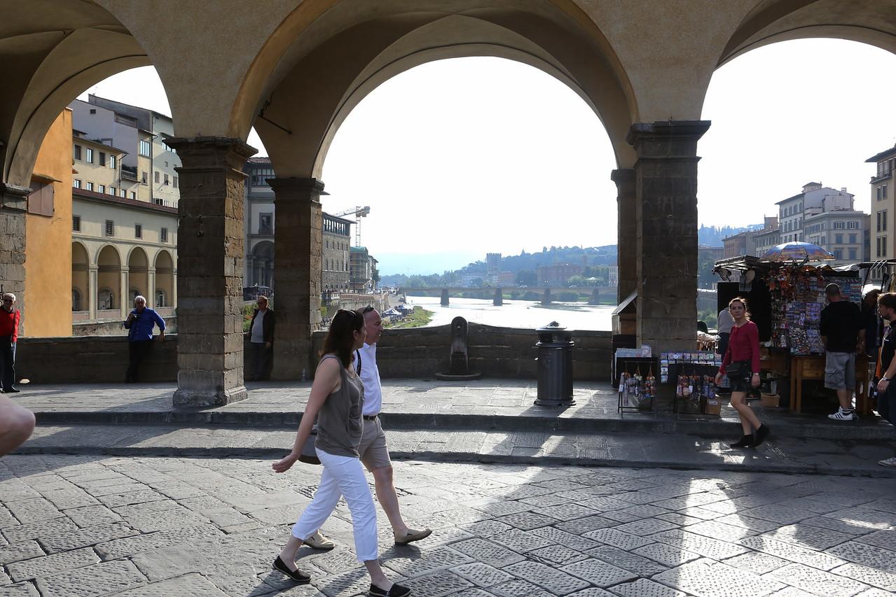 Strolling on the Ponte Vecchio.