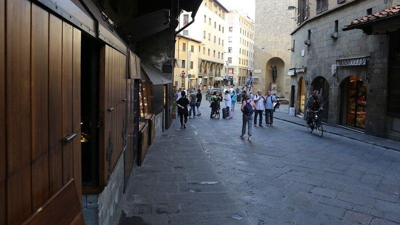 Early morning as the shops on the Ponte Vecchio begin to open.