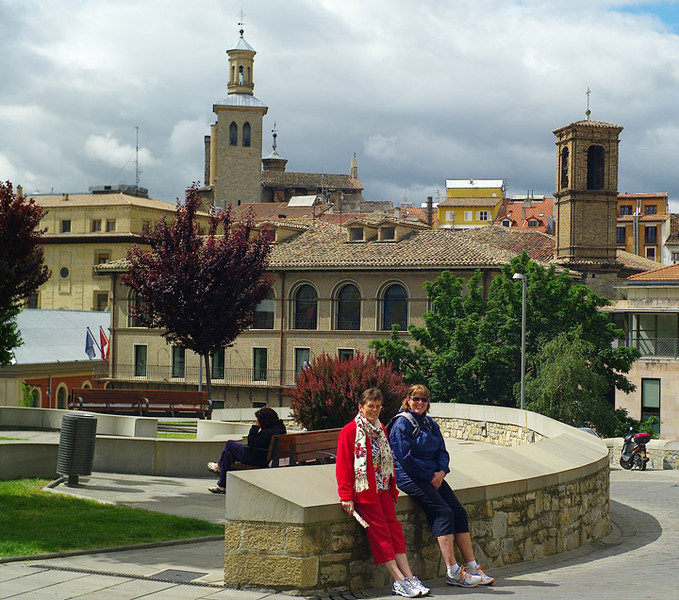 Then on to Pamplona. We decided it was so interesting it was worth spending a couple of days exploring. Carmel and Marion were delighted to get out of serious walking gear.