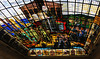 The wonderful stained glass ceiling of the Meeting House by a Basque artist.