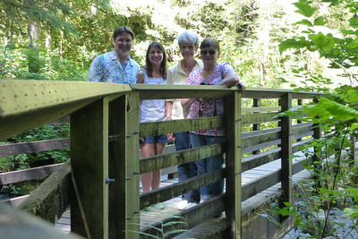 Mike, Diane, Liz and Auntie Grace on one of the many bridges along the trail.