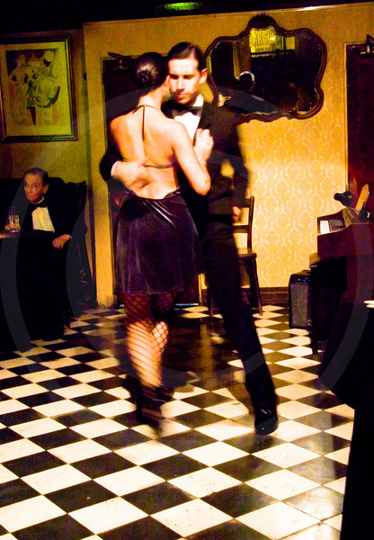 Tango dancing at Bar Sur, San Telmo, Buenos Aires, Argentina, South America.