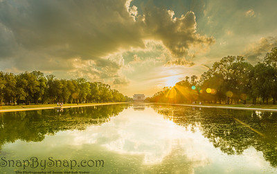 Evening Panorama of the Lincoln Memorial with the reflecting pool