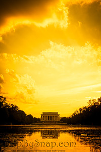 Evening image of the Lincoln Memorial with the reflecting pool