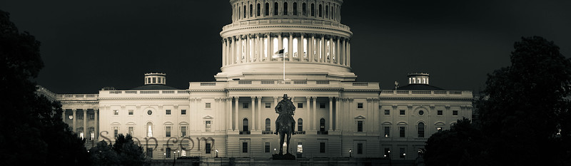 Panorama of the Capitol of the Unites States in dramatic black and white