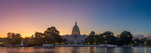 Panoramic image of the Capitol of the United States with the capitol reflecting pool