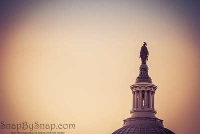 The Statue of Freedom on top of the dome of the United States Capitol