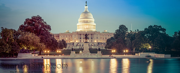 Panorama of the Capitol of the Unites States in evening light