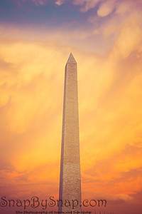 The Washington Monument during sunset