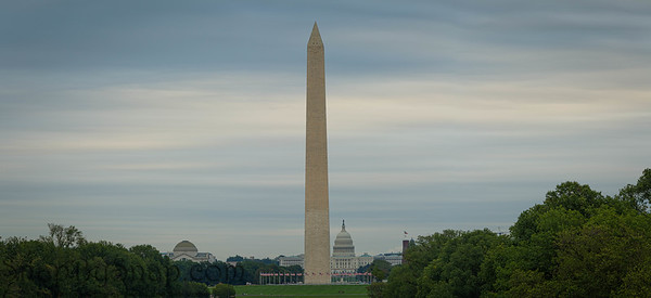 Panorama of the Washington Monument with the capitol of the United States in the distance
