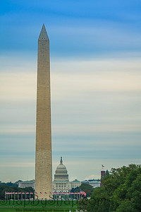 The Washington Monument with the capitol of the United States in the distance