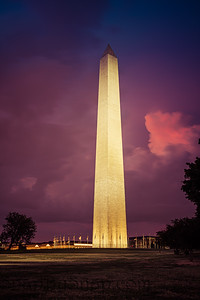 The Washington Monument lit up