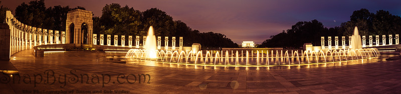 A Panorama of the fountain of the World War II Memorial