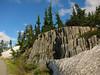 Columnar basalt and snow near Mt. Baker.