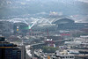 View of CenturyLink Field and Seattle Mariners Stadium from the Space Needle