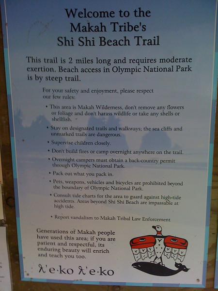 "Hiking to Shi Shi Beach.<br />  <a href=""http://www.nps.gov/olym/planyourvisit/shi-shi-beach-olympic-wilderness.htm"">http://www.nps.gov/olym/planyourvisit/shi-shi-beach-olympic-wilderness.htm</a>"