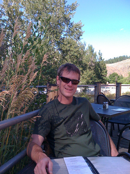 """After a long drive, Jon and I relax at the Twisp River Pub<br />  <a href=""""http://www.methowbrewing.com/"""">http://www.methowbrewing.com/</a><br /> The river.. it's pronounced """"Met How"""" not """"Methow"""" because we are in the Pacific Northwest."""