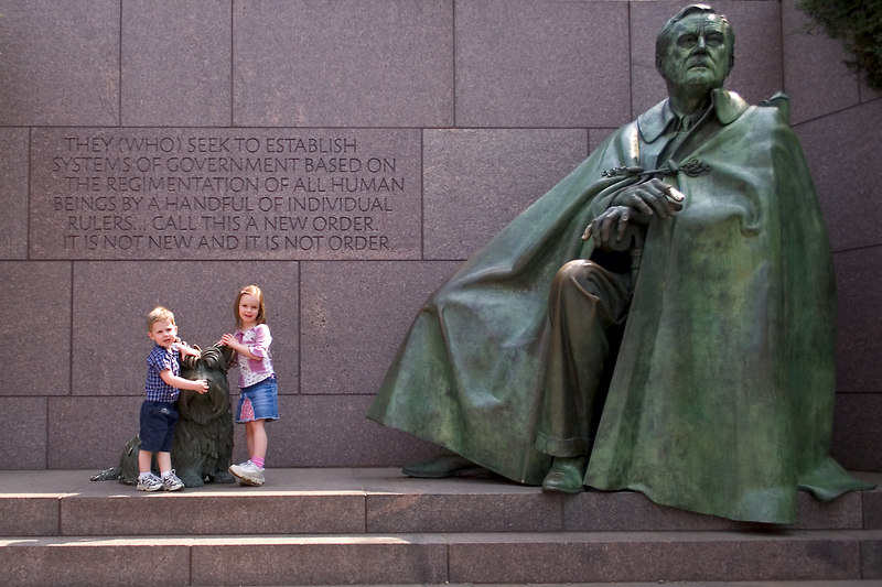 Sarah and Ethan at the FDR Memorial