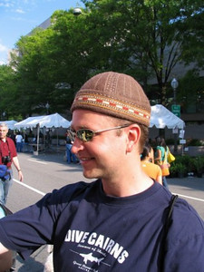 Rick donned a hat from Kazahkistan at the Asian Heritage Festival in Downtown DC.