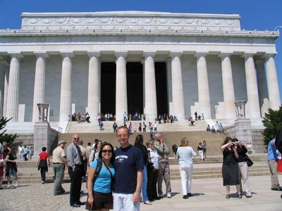 Kirsten took this photo of me and Rick with the Lincoln Memorial.