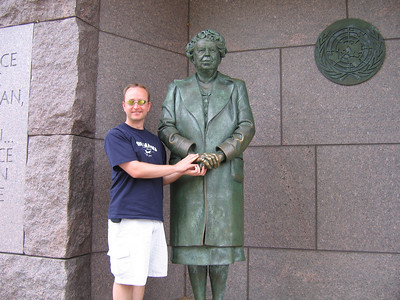 Rick with Eleanor Roosevelt at the FDR monument.