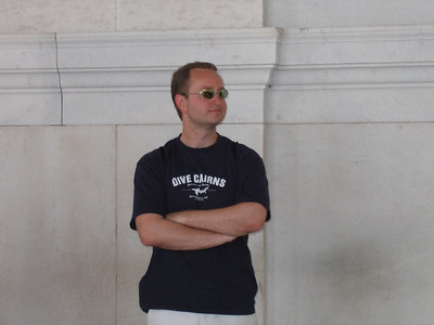 Rick pondering the Jefferson monument
