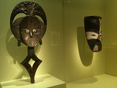 Gabon masks. Late 19th. Wood, copper, brass, bone, iron. Wood &  pigment. Smithsonian Museum of African Art.