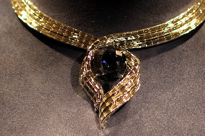Hope Diamond at the Museum of Natural History.  Not as sparkly as one might think.  Not enough facets I guess.