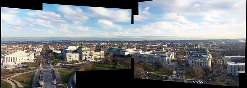 Looking out east & south from the Capitol Building dome. You can see (left-to-right) the Supreme Court, the Library of Congress (multiple buildings), and three or four Congressional office buildings.